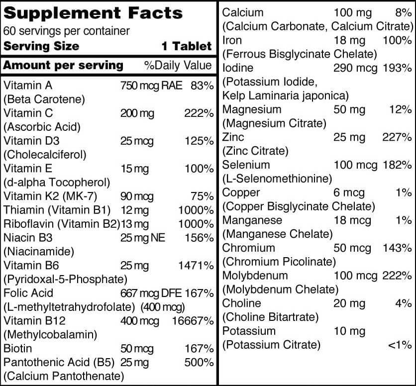Our prenatal multivitamin uses bioavailable forms of 25 nutrients