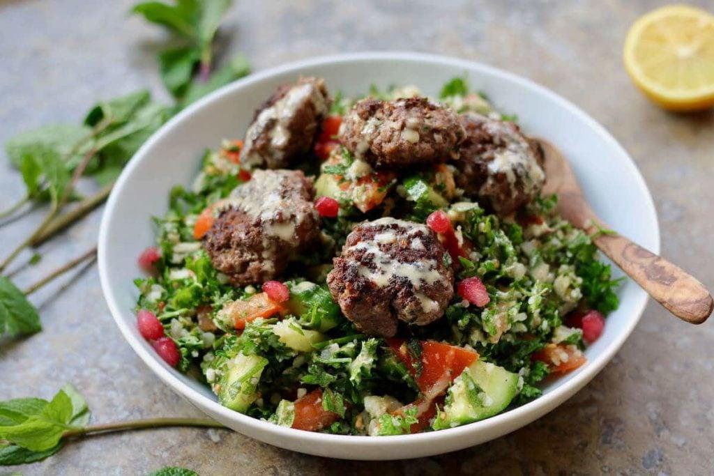 featured image for recipe on keto lamb kofta with cauliflower tabbouleh