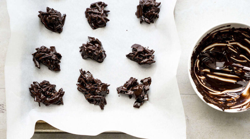 Step 3 is to scoop the choco and form into clusters